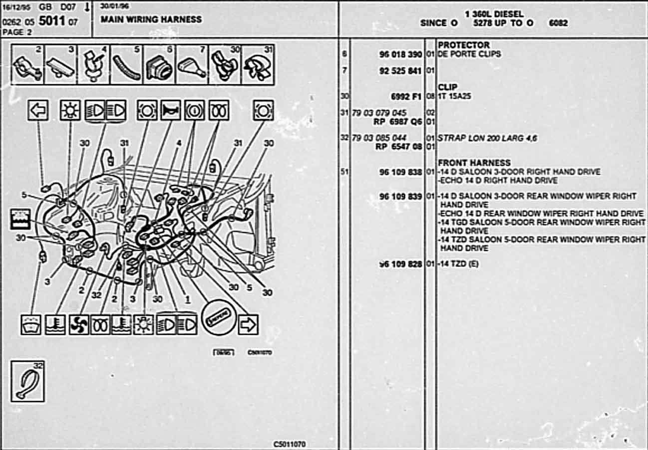 Citroen Ax Parts List 5 Ip Wiring Harness 05 5011 07 1